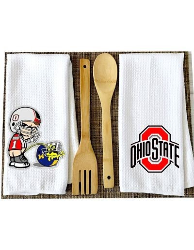 Ohio State Logo & Brutus Kitchen Towels