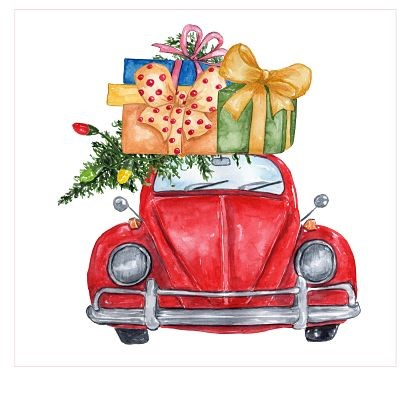Car with Christmas Packages Sublimation Transfer