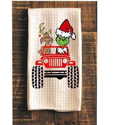 Grinch Dog Jeep Kitchen Towel