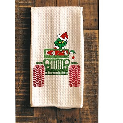 Grinch In A Jeep Kitchen Towel